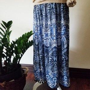 NWT J. Jill Blue Paisley Maxi Tassel Skirt  L